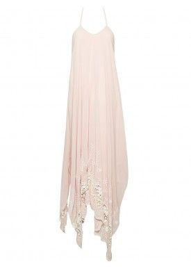 MESSI EMBROIDERED HANDKERCHIEF MAXI DRESS by Alice + Olivia. We're blushing for this perfect date dress.