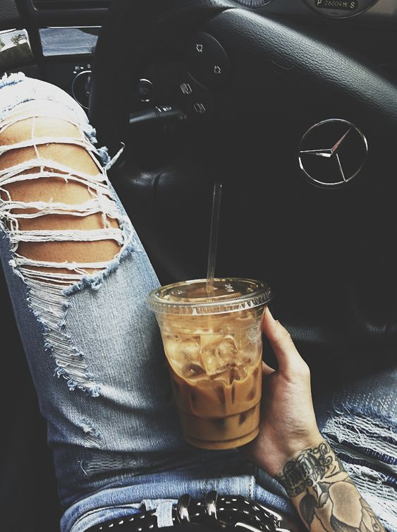 iced coffee / tattoo / mercedes. great combo.