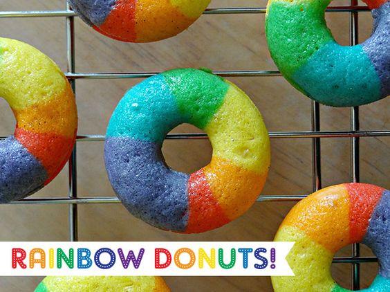 Mini rainbow donuts!: Vanilla Bean, Rainbow Vanilla, Rainbow Doughnut, Bean Doughnut, Rainbow Food, Bean Donuts