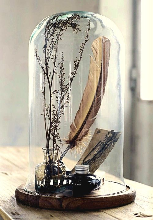 Writers memorabilia in glass cloche: