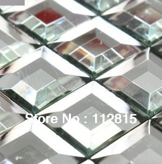 clear fifth facets bathroom kitchen glass tile silver mirror glass mosaic tile-in Mosaics from Home Improvement on Aliexpress.com