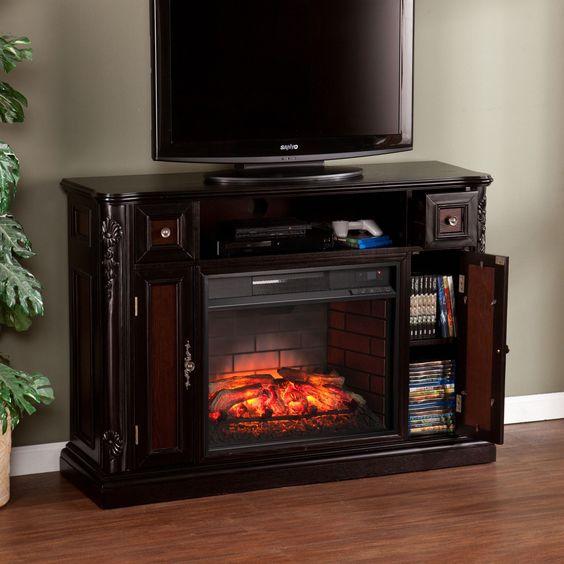 SEI Harper Blvd Ellis Ebony Media Console/ Stand Infrared Electric Fireplace