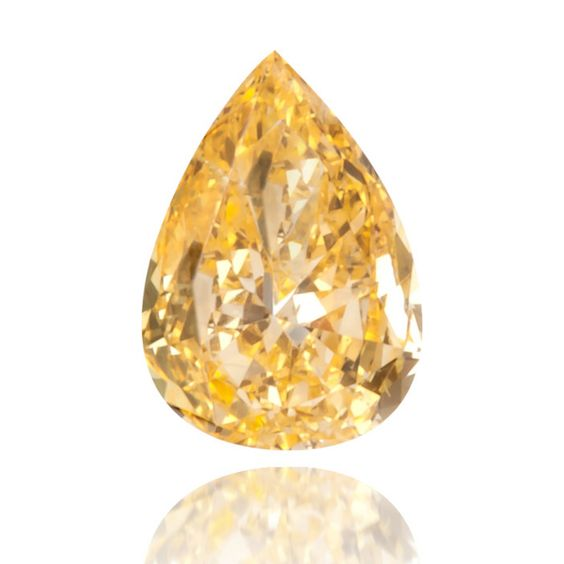 Pear shaped fancy vivid orange yellow diamond (0.11 carat)