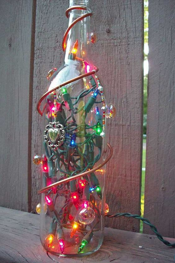 Decorated Lighted Glass Bottle by GlassBottleCrafts on Etsy, $25.00
