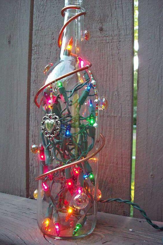 Decorated Lighted Glass Bottle by GlassBottleCrafts on Etsy, $25.00