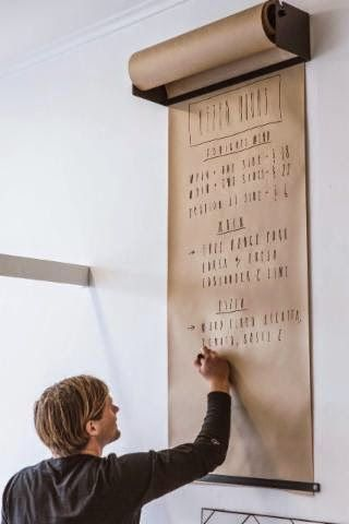 very cool; hang a large roll of paper on the wall and use as menu board... or anything else