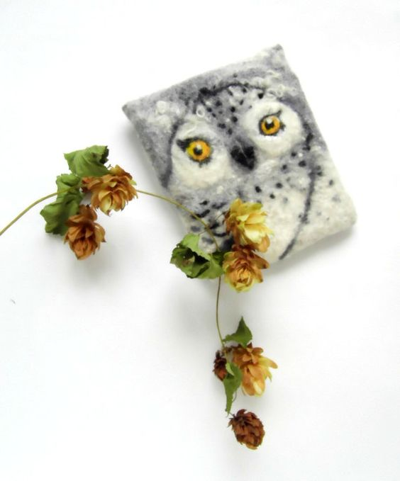 snowy OWL Wet Felted coin purse Ready to Ship by MSbluesky on Etsy, $44.00