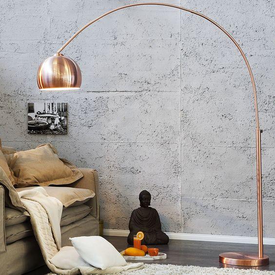 BIG BOW RETRO DESIGN LAMPE stehlampe bogenlampe Kupfer ohne Dimmer: Amazon.de: Küche & Haushalt
