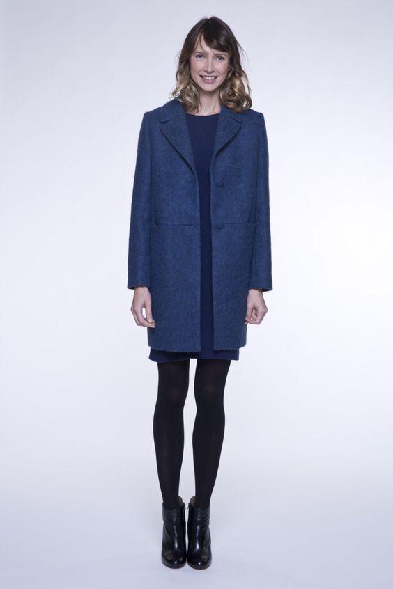 manteau femme bleu en tissu poilu - Manteau Femme Color