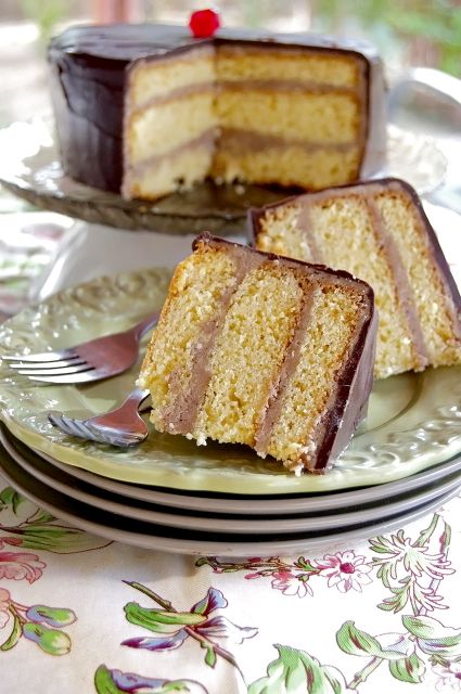 Layer Cake With Mocha Frosting And Hard Chocolate... Yellow cake ...