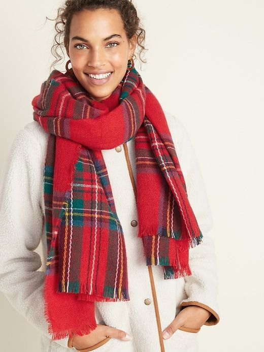 Fringed Oversized Flannel Scarf For Women Old Navy Scarves