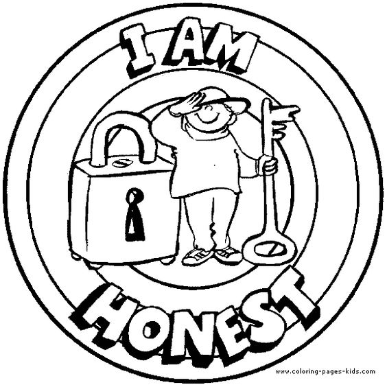 honesty coloring pages | I am honest Morale Lesson color page, education school ...