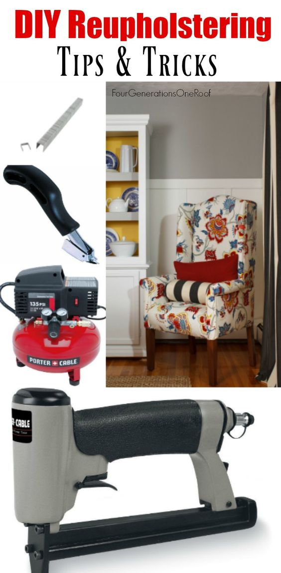 Easy DIY Reupholstering tips and tricks to help anyone reupholster a chair or couch. No Sewing. Use a staple gun powered by a compressor.