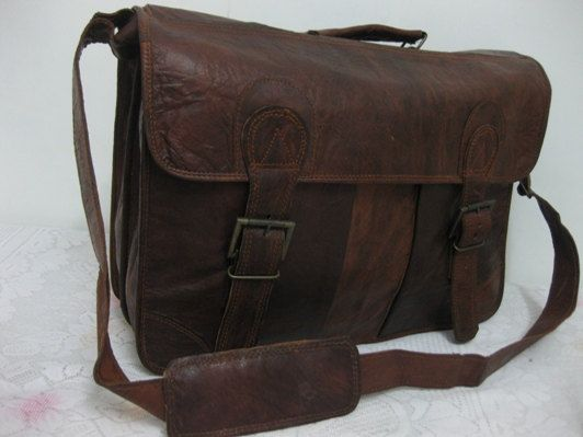 Leather Messenger Bag Vintage Leather Satchel by GenuineGoods786, $105.00 these bags are my weakness