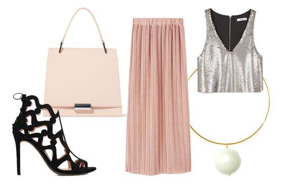 look de graduación 2, Bolsa Zara $899, collar Uterqüe $1,390, Top, falda y zapatos Mango; $799, $999 y $999.