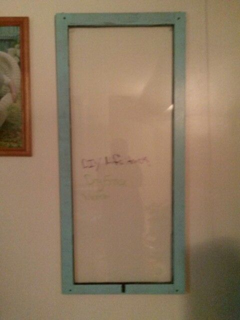 Dry erase window drilled to wall