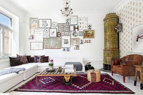 Frame wall in the living room of French designer Lisa Bengtsson