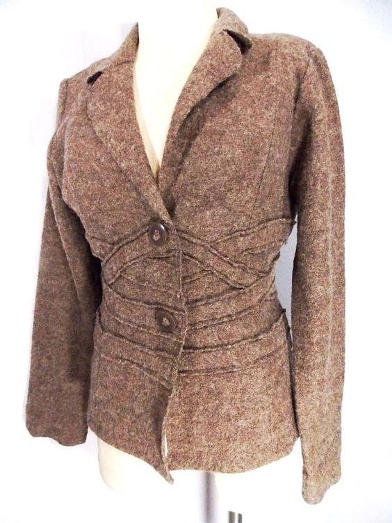 Cynthia Rowley Blazer Sz M Wool Mohair Jacket Career Suit Coat BOHO Brown