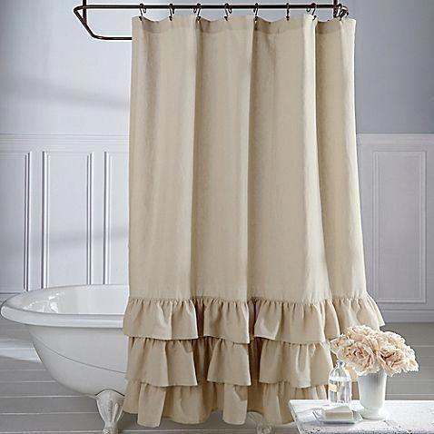 Veratex Vintage Ruffle 54 Inch X 78 Inch Shower Curtain Shabbychicbathrooms Primitivebathrooms Cortinas De Bano Cortinas