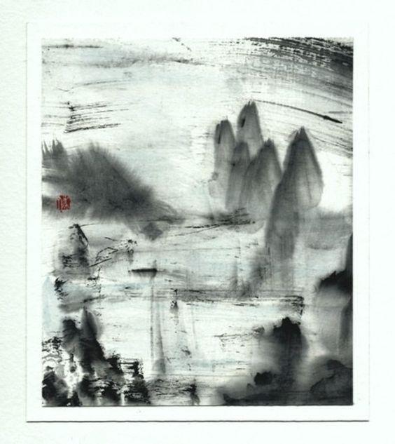 aquatique peinture l 39 encre de chine film pinterest. Black Bedroom Furniture Sets. Home Design Ideas