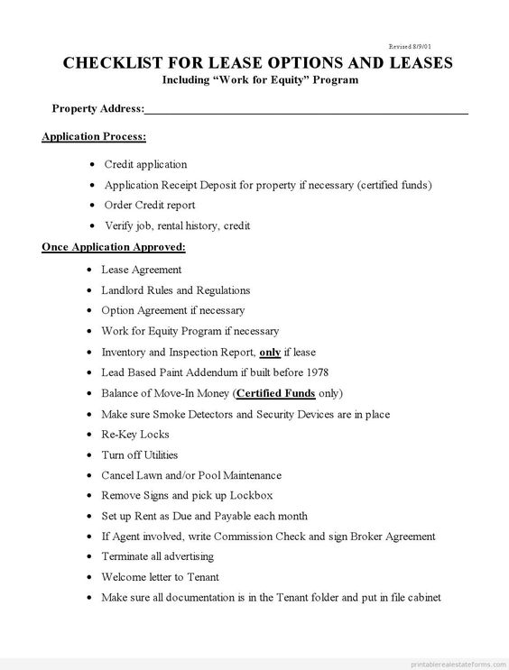 Printable Sample checklist for lease options and leases Form - sample landlord lease agreement