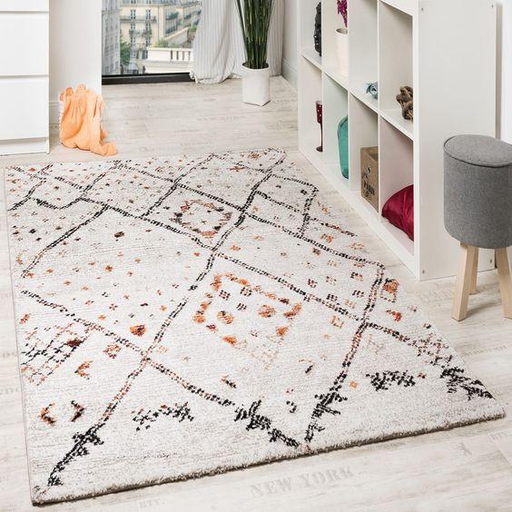 Designer Teppich Modern Nomaden Teppich In Karo Motiv Meliert - wohnzimmer beige karo