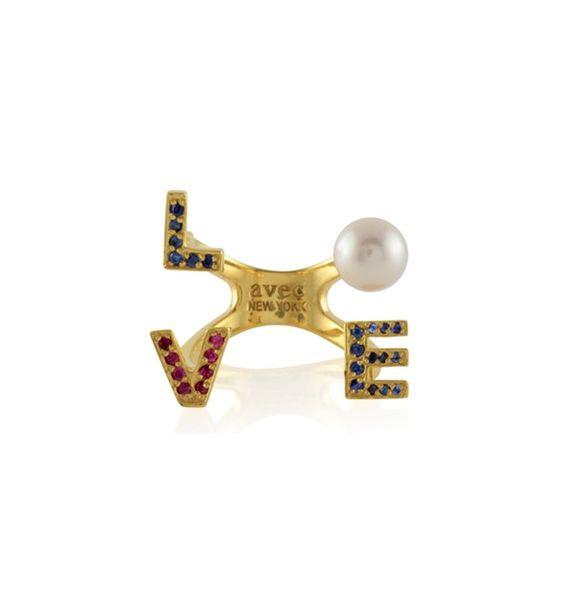 Avec Jewelry Gold Vermeil Love Rhinestone Ring