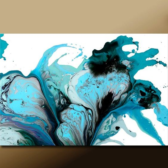 Abstract Art Print 19x13 Turquoise Teal Aqua & Black by wostudios