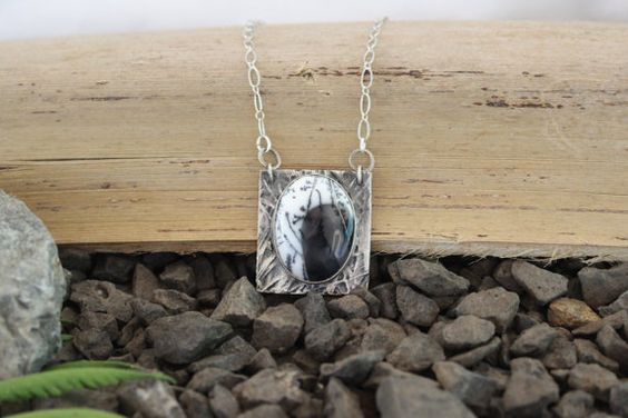Dendritic Opal necklace handmade necklace by SilverEarthJewellery