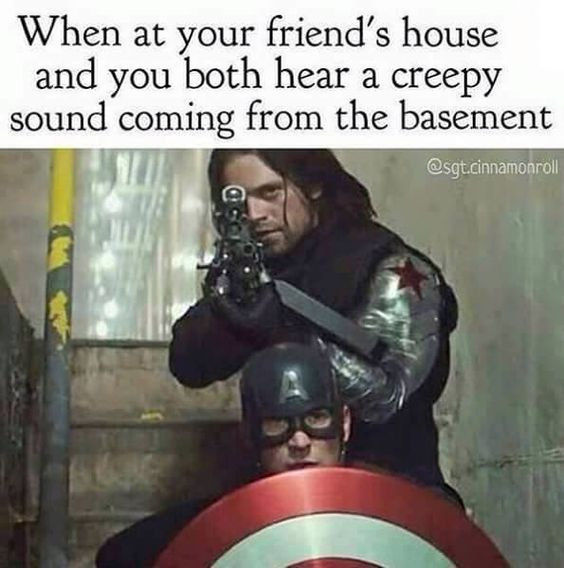 I didnt notice Cap at first, I just thought that the shield was leaning up against Bucky's leg and then then I see Cap's head looking like a little turtle.