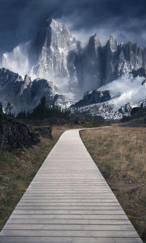 Wooden Path Mountains Landscape 480x800 Wallpaper Landscape Landscape Photography Wooden Path