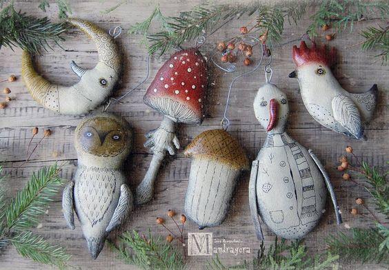 Набор ёлочных игрушек , 6 штук. Самая большая 14 см.Месяц, сова, мухомор , жёлудь, снеговик, петушок. Текстиль, акрил, лак. Ищет своего волшебника.  #ёлочныеигрушки #мандрагоринычудовища #украшениенаёлку #декор #праздник #праздничноеукрашение#рождественскоеукрашение #новогоднееукрашение #новыйгод #рождество #ёлка #мандрагораарт #decor #cristmastree #homedecor #mandragora: