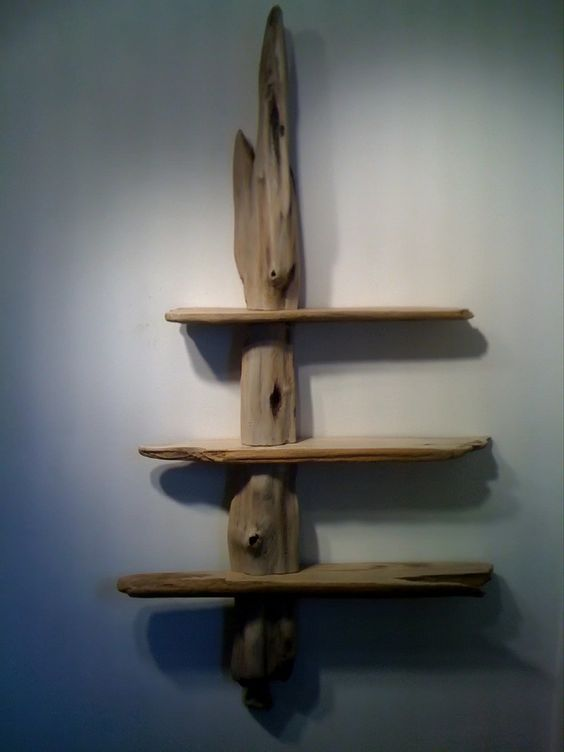 Driftwood shelves made from Western Red Cedar and by driftedge