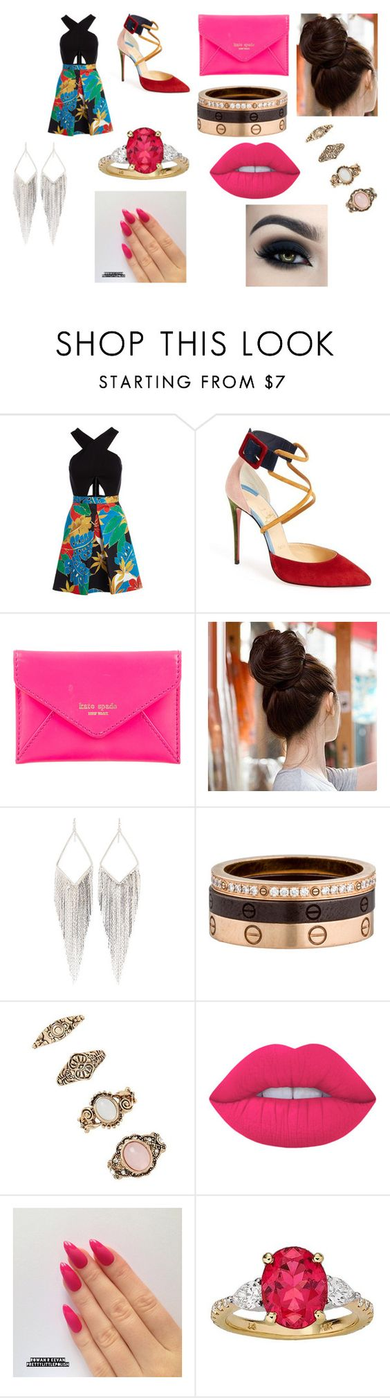 """""""#50"""" by jasmine-c05 ❤ liked on Polyvore featuring Alice + Olivia, Christian Louboutin, Kate Spade, Jules Smith, Cartier, Forever 21 and Lime Crime"""