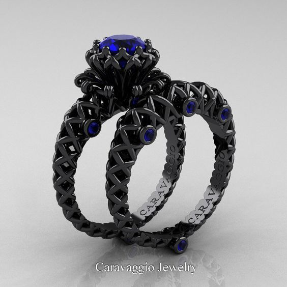Caravaggio Lace 14K Black Gold 1.0 Ct Blue Sapphire Engagement Ring Wedding Band…