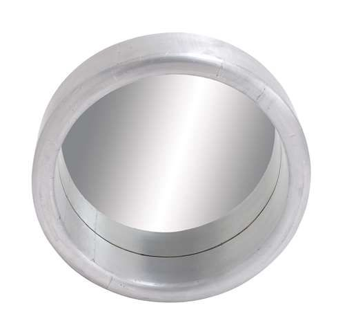 """Sleek and Gorgeous Porthole Shaped Wood Metal Clad Mirror in Silver White Finish. Features: Wood clad mirror with dimensions: 24"""" x 6"""" x 24"""" and 20""""D mirror Made from aluminum ,common mirror and wood Sturdy and long lasting Silver white finish"""
