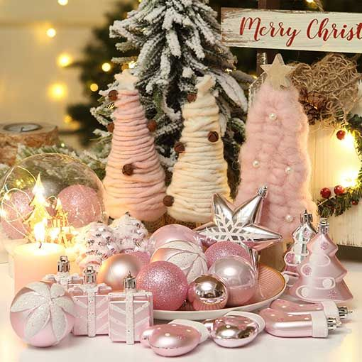 Trendy Blush Pink Holiday Decor Must Haves For Christmas Candie Anderson Pink Christmas Ornaments Pink Holiday Christmas Trends