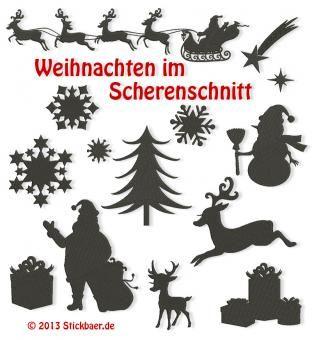 Weihnachten im Scherenschnitt Christmas in Silhouettes Machine Embroidery Designs