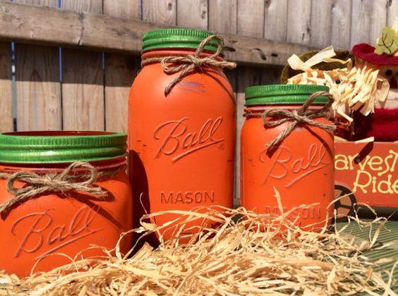 Set of 3 Hand Painted Mason Jar Pumpkins, Home Decor, Fall Decor, Pumpkin Decor, Halloween Decor, Fall Mason Jars on Etsy, $24.00
