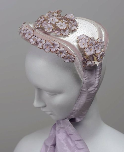 Bonnet Made Of White Straw, Designed To Be Worn On Top Of The Head, Trimmed With…: