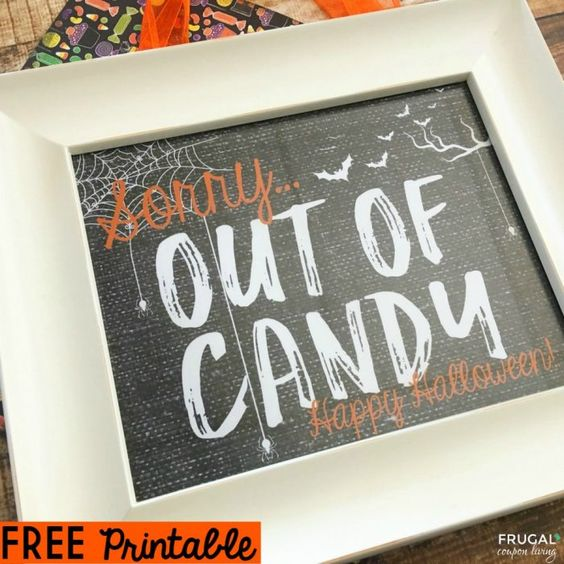 FREE Halloween Out of Candy Sign Printable