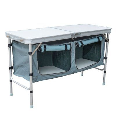 Outsunny Aluminum Camping Folding Camp Table with Carrying Handle and Storage Organizer, 47-Inch