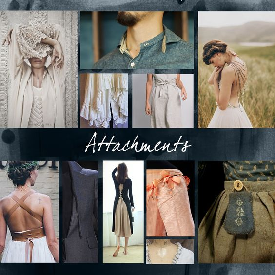 Personalisation of the button-seamed garments  continues with attachments that can be added. Collars, lace, strapping, belts, tailored sleeves,pockets and ruffles all aid in creating personality  and functionality to the garment.