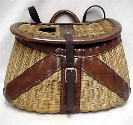 Creel early french weave leather bound fly fishing basket for Fly fishing creel