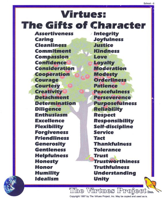 character education and core virtues The core virtues program is a practical, nonsectarian approach to character education on a kindergarten through sixth-grade level that involves approximately twenty minutes per day of reading and discussion.
