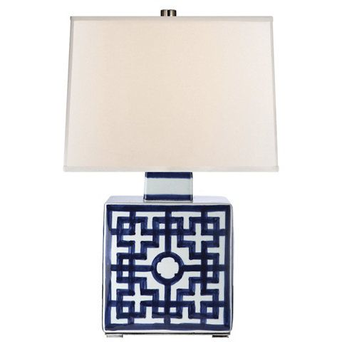 Sabrina Table Lamp In Blue And White Porcelain New
