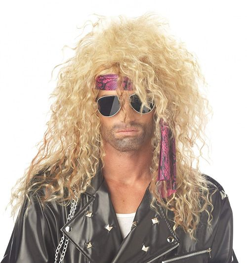 80 S Hair Band Metal Rocker Long Curly Blond Men Women Wig New