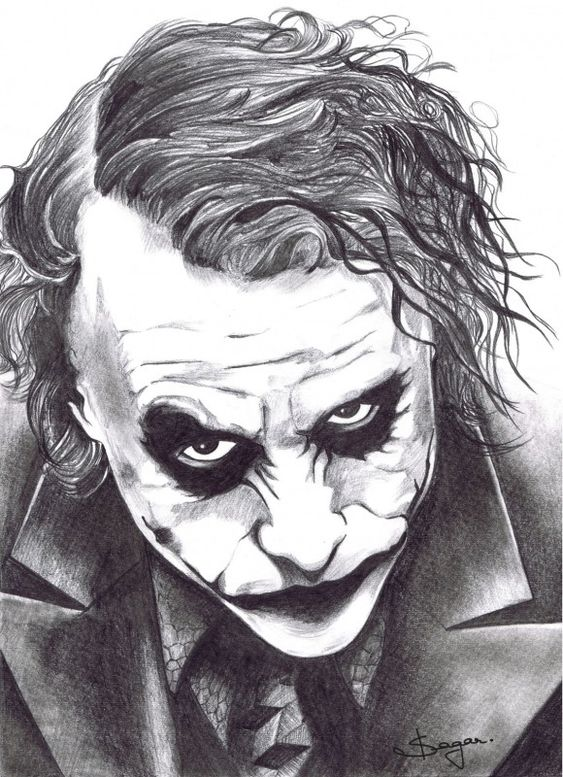 Pencil sketch of joker pencil art pinterest awesome for Awesome face drawing