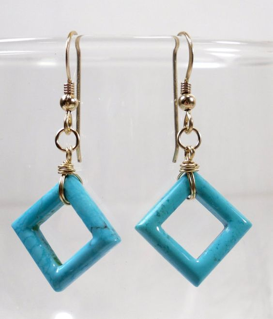 Turquoise Skies Earrings  Lovely Turquoise Square by SLCDesignsUK, $34.00