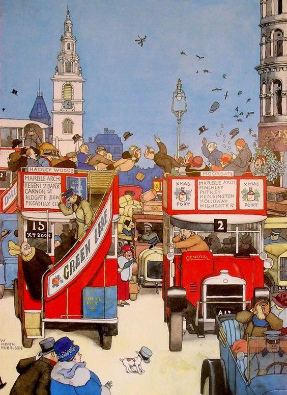 London Buses, W. Heath Robinson, UK.